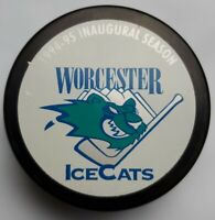1994-95 WORCESTER ICECATS INAUGURAL SEASON OFFICIAL AHL VINTAGE HOCKEY PUCK