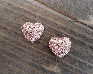4 Druzy Cabochons Flatbacks Heart 13x12 Faux Druzy Quartz Rose Gold Pink