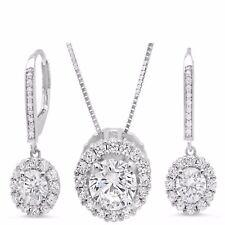 "Necklace & Leverback Earrings Set Diamond Simulant 14K White Gold 16"" CHAIN"