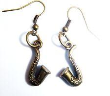 Antique Gold Tone Saxophone Earrings Free Organza Gift Bag Brass Musical Tenor
