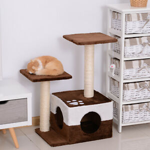 Cat Tree Scratcher Condo Play House Activity Center Post w/ Hanging Toy Brown