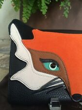 "KATE SPADE NEW YORK ""Blaze A Trail"" Fox Leather & Suede Clutch, NWT"