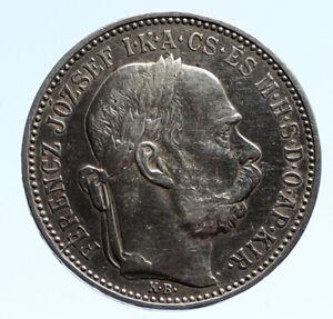 1893 HUNGARY w King Franz Joseph I Hungarian Antique Silver Korona Coin i96094
