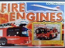 T211 Bloc feuillet AFGHANISTAN FIRE ENGINES Voitures Pompiers CONCORDE MNH