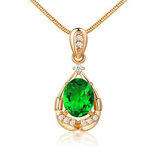 Emerald Green Crystal Yellow Gold Filled Women Lady Wedding Pendant Necklace BOX