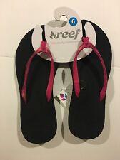 Women's Reef Sandal Friendship Bracelet Sz 6 Blk Pink