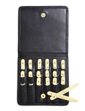 Brooks Brothers Gold Colour Metal Collar Stays Black Nappa Leather Case