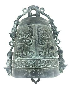 Bronze Ware Asian Temple Zhong Bell Dragons Buddhism Zen Chime Statue Vtg