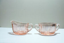 Queen Mary Pink Depression Glass Oval Cream and Sugar