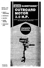 Sears Gamefisher 3HP 298.586192 Owners Operators Maintenance Instruction Manual