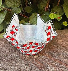Vintage Chance Red & White Glass Handkerchief vase