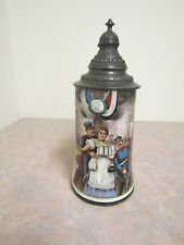 Old German Military Hand Painted Lithopane Stein