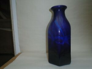 Stylish large purple & blue art glass bottle vase with funky abstract pattern