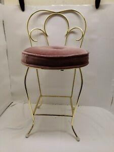 Vintage vanity stool chair, Mauve, Goldtone
