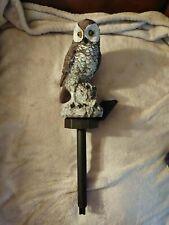 Solar Lighted Gray Owl On Tree Stump Garden Statue Garden Stake