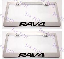 2X Toyota RAV4 RAV 4 Stainless Steel License Plate Frame Rust Free W/ Caps