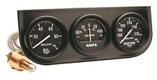 "Auto Meter Autogage Three Gauge Oil Press /Amp /Water Temp Black Console 2-1/16"""