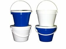 4 1 Gallon Buckets Lids 2 ea Blue White Made in America Lead Free Food Safe
