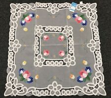 """*****FINAL CLEARANCE*****Embroidery Tulip Fabric Tablecloth 36x36"""" Square White"""