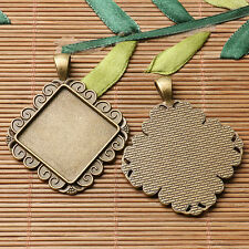 3pcs antiqued bronze color squared shaped cabochon setting in 25x25mm EF3083