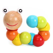 Cute Baby Kids Twist Caterpillars Wooden Toy Creative Educational Gift US SELLER