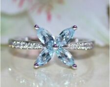 1.50Ct Marquise Cut Aquamarine Cluster Engagement Ring In 14K White Gold Finish