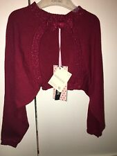 NEW Monnalisa Girls Deep Red Glitter Bow Party Bolero Cardigan Over Dress 4 Year
