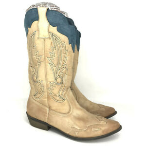 Coconuts Womens Cimmaron Tan Textile Cowgirl Western Boots Pull On Size 10 M