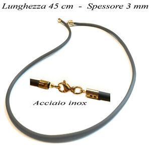 2x Collana in caucciu nero 45 cm x 3 mm con chiusura in acciaio inox oro da uomo