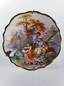 """Limoges France 4.25"""" Plate Hand Painted Children Gold Trim w/ Stand"""