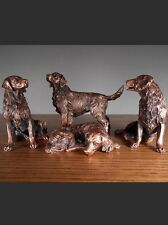 Set Of 4 Golden Retriever Dogs Impressive & Beautiful Bronze Statue / Sculpture