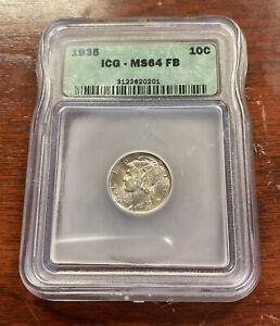 1935 10C Mercury Silver Dime ICG MS64 FB