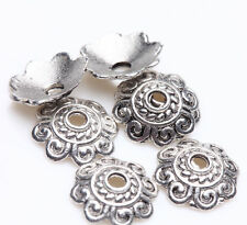 100PCS Tibetan Silver Flower Carving Bead Cap Charm Jewelry Finding Making 8mm