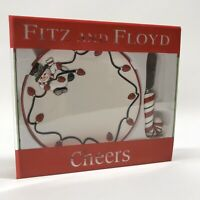"""Fitz & Floyd Christmas """"Cheers"""" Snack Plate With Spreader Set In Original Box"""