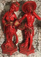 "Vtg Chinese Red Man Woman Plaster Chalkware Statues 16 1/2"" Universal Statuary"