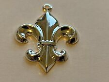 Brass Large Fleur de Lis Charm Stampings A Package of 50 Sterling Silver Plated