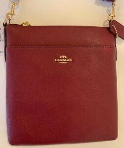COACH KITT CROSSGRAIN LEATHER CROSSBODY/MESSENGER BAG-$150-red