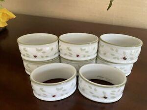 Lenox (Set of 8) Porcelain Napkin Rings BUTTERFLY MEADOW Ladybug Bee EUC