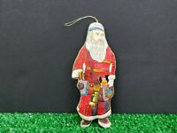 Vtg. Embroidered Fabric Classic Santa Ornmament