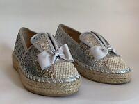 Sole Sister Silver Glitter Flat Bunny Espadrille Surfer Shoe Small UK 4 EU 37