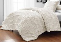 Ruched CREAM 3pc Comforter Set Ruffled Pinch pleat Bed Cover Bedddings All Size