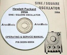 HP HEWLETT PACKARD 209A SINE-SQUARE OSCILLATOR SERVICE & OPERATING  MANUAL