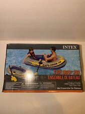 INTEX Explorer 200 Inflatable 2 Person River Boat Raft Set W/ 2 Oars & Pump Lake