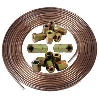"Copper Nickel Kunifer Brake Pipe 25ft Roll 3/16"" Metric Male Female Inline Ends"