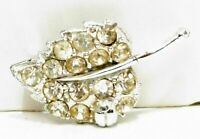 Vintage Brooch Pin Silver Tone Crystal Rhinestone Small Leaf Stem Design Jewelry