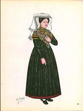 Gravure d'Emile Gallois costume des provinces françaises 1950 Limousin