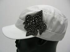 FLEUR DE LIS EMBELLISHED - WOMEN'S ONE SIZE STRETCH FIT CADET STYLE CAP HAT!