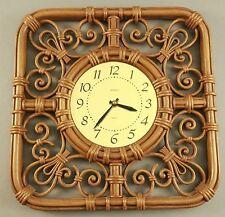 "1971 Atomic Age Mid Century Gold Face Clock  SYROCO Regency  Quartz 16.5"" X 16.5"