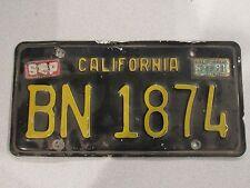 1963-1970 YOM California Trailer License Plate DMV Clear Confirmed CA RV BN1874