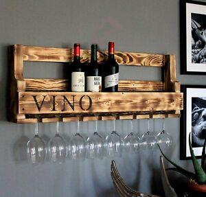 Weinregal VINO Wein Regal Gläserhalter Flaschenregal 90 cm geflämm Holz geflammt